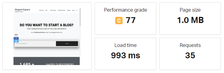 site speed below 1 second