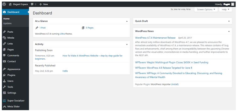 wordpress dashboard panel