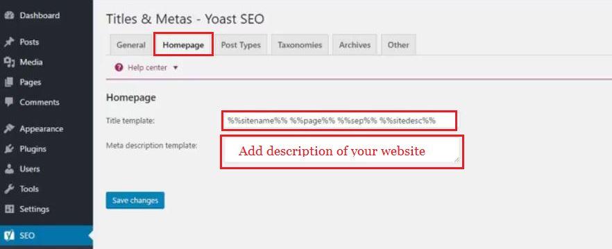 homepage description for SEO