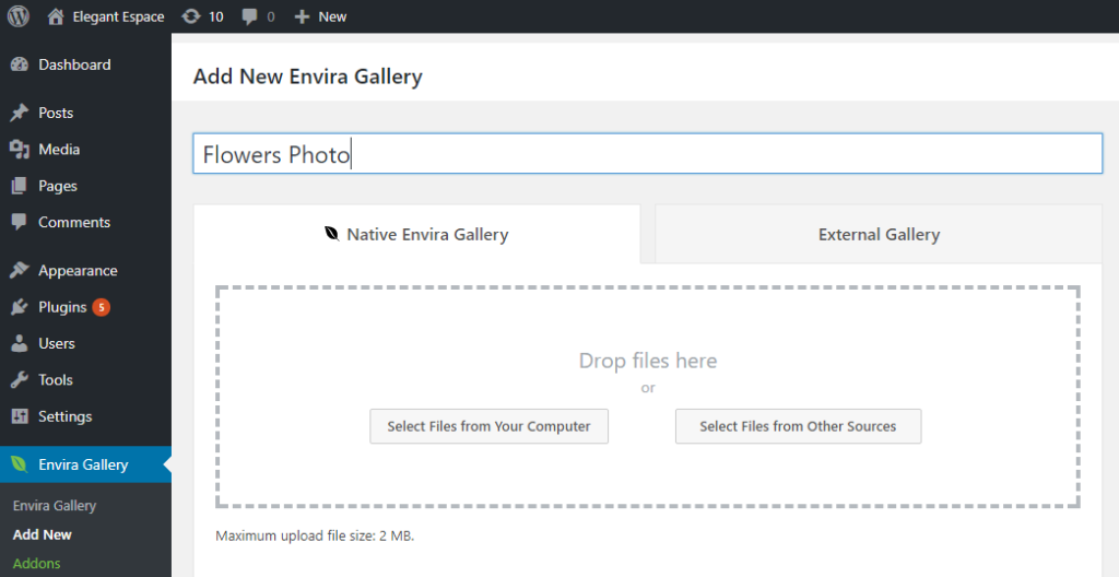 how choose images for envira gallery