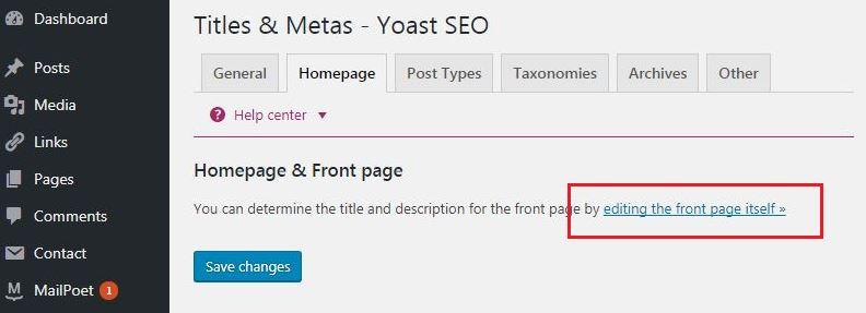 static homepage for yoast